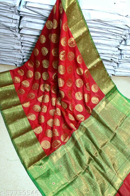 Gargeous Stone Handwork Soft Banarasi Silk Wedding Wear Woven Sarees
