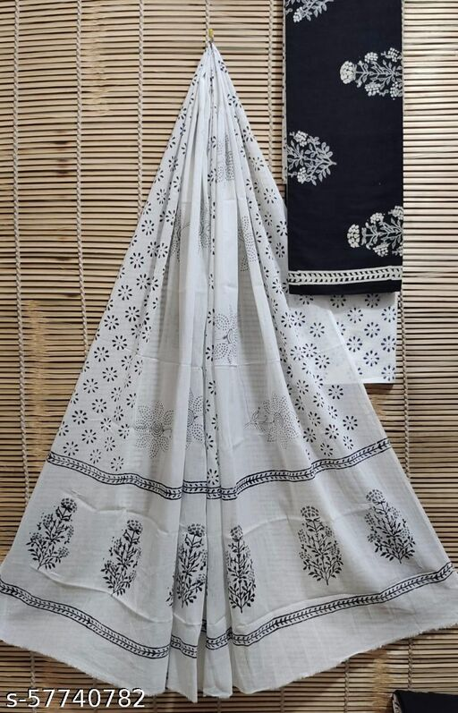 Cotton Suits Traditional  Hand Blocks Printed Natural Colours With Cotton  Dupattta