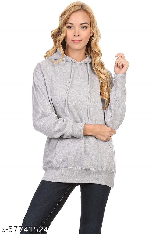 Sattvik certified Unisex-Adult Cotton Hooded Neck| Fashion and Youth Men's Cotton Plain Grey Hoodie Sweatshirt (Grey,Small)