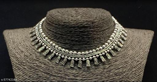 Primis Afghani Oxidised Silver Jewellery Stylish Antique Long Necklace Set for Women & Girls