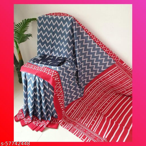 Ronak Garments 'Women's Hand Block Kalamkari Batik Bagru Jaipuri Ikat Printed Handloom Pure Cotton Mulmul Traditional Ethnic Cotton Sarees With Printed Blouse Piece