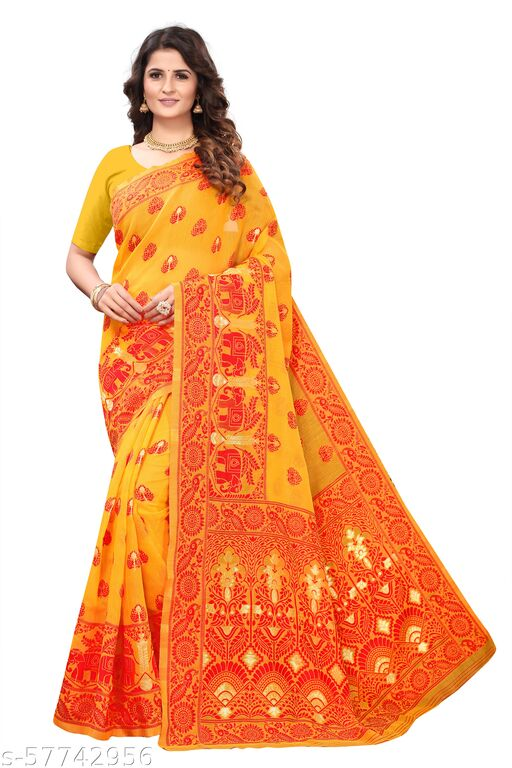 Women's Dhakai Jamdani Cotton Soft Silk Half & Half Transparent Saree