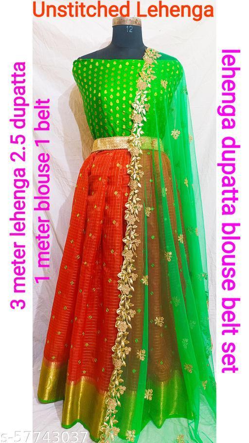Women's Trendy Heavy Embroidery Work & Organza South Style Lehenga Choli