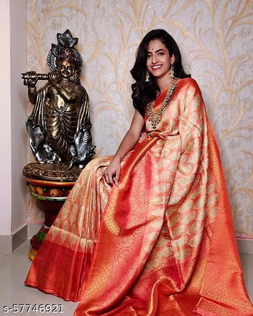Orange Banarasi Silk Saree With Digital Kalamkari Printing Multicolor Borders And Blouse Contrast.