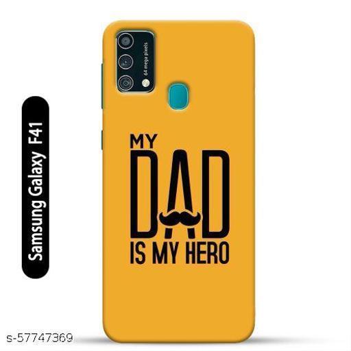 Samsung Galaxy F41 Back Cover Design Pattern Hard Printed Lightweight Slim Case (My Dad My Hero Quote)