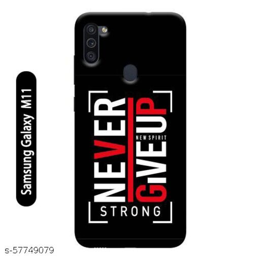 Samsung Galaxy M11 Back Cover Design Pattern Hard Printed Lightweight Slim Case (Never Give Up Stay Strong Quote)