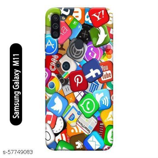 Samsung Galaxy M11 Back Cover Design Pattern Hard Printed Lightweight Slim Case (Social Media Pattern)