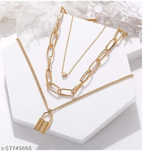 Women Gold Plated Layered Necklace