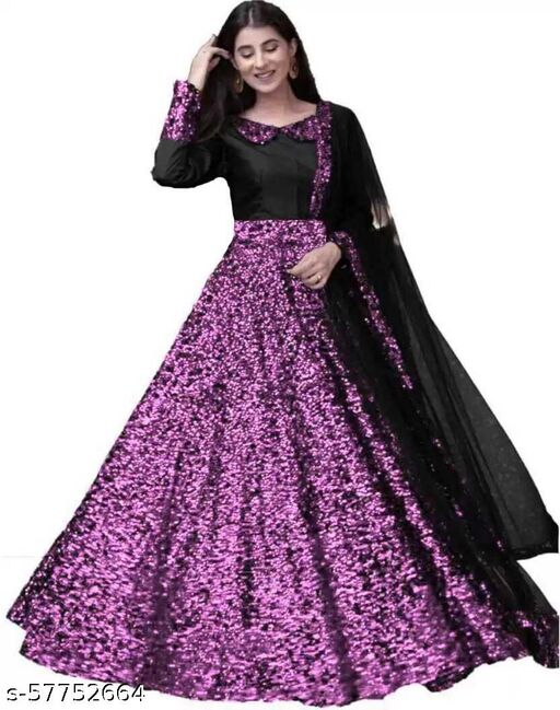 Embroidered Velvet Semi Stitched Anarkali Gown