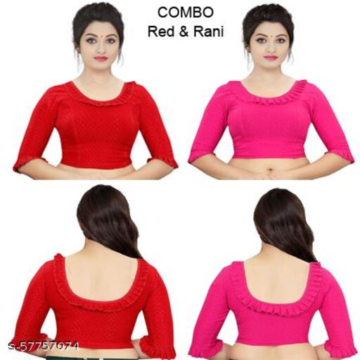 PU Designer Readymade Stretchable lycra party wear Blouse latest design Combo