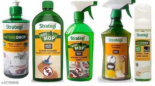 Herbal Strategi home essentials combo - Floor cleaner 500 ml   Kitchen cleaner 500 ml   Dishwash lequid 500 ml   Toilet Cleaner 500 ml   Foaming handwash 100 ml