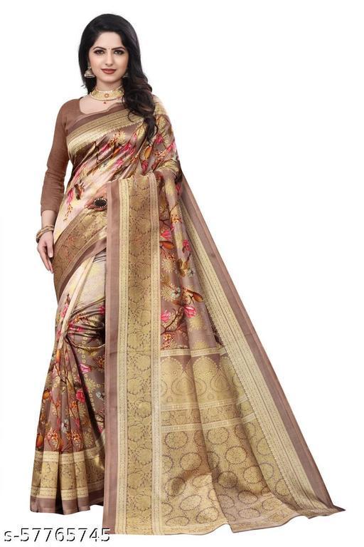 Women's beautiful printed cotton silk saree  with blouse piece