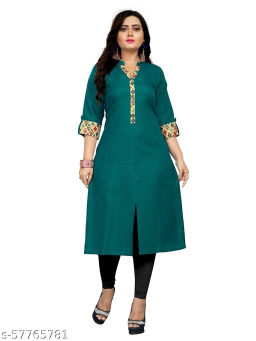 Latest and New Deigner Straight Solid Cotton Blend Kurti