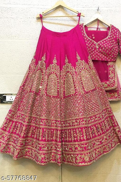 Pink Type Colored Party Wear Lehenga Choli With Embroidery Work