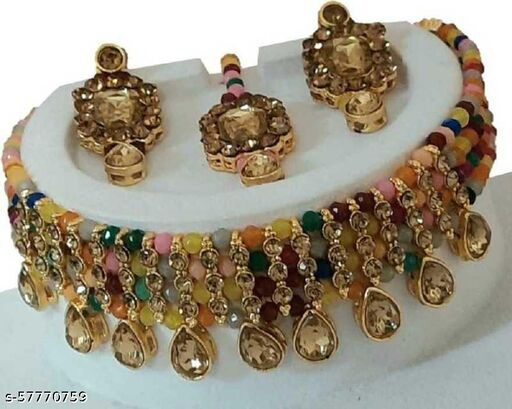 Metal, Stone Gold-plated Jewel Set  (Multicolor) Jewellery Set