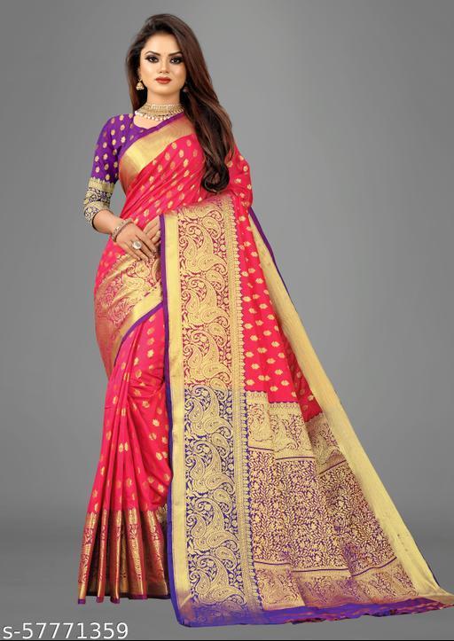 Lotus Majenta Banarasi Silk Saree With Heavy Zari Weaving