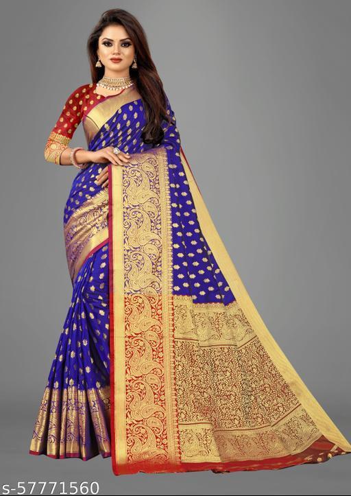 Lotus Royal Blue Banarasi Silk Saree With Heavy Zari Weaving