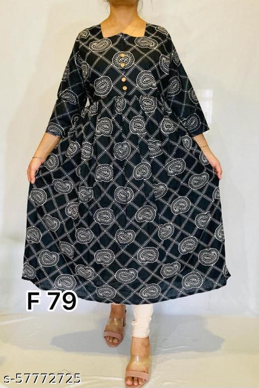 Women Rayon  Printed black Kurti