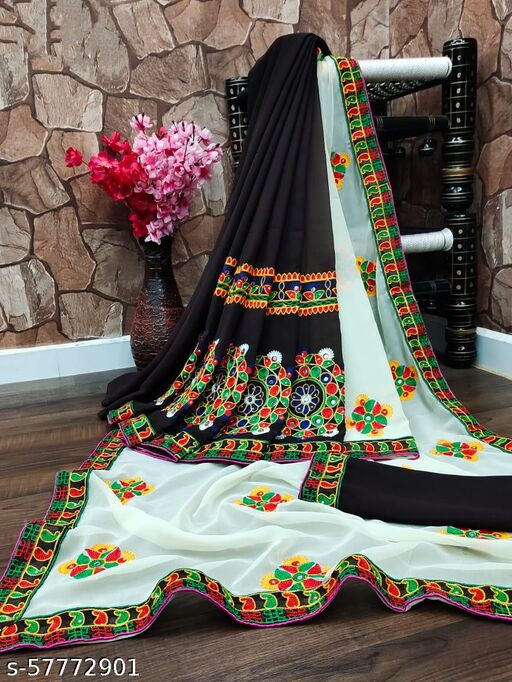 NEW KUTTCHI WORK SAREE IN NEW ADDITION WITH PALLU EMBROIDERY WORK & REAL MIRRORS