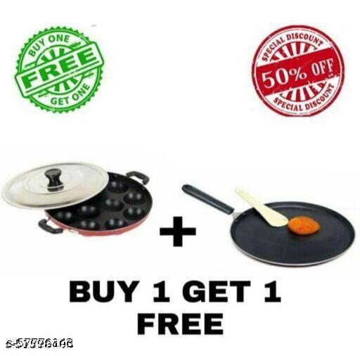 NON STICK DOSA TAWA WITH APPAM/PATRA MAKER ABSULATELY FREE.IT IS TOTALLY FOODGRADED NON STICKY AND IT CONSUMER LIMITED OIL,BASE IS RED/BLACK IT DEPEND ON AVAILABILITY .COMPLEMENTARY APPAM IS 12 CAVATIES.