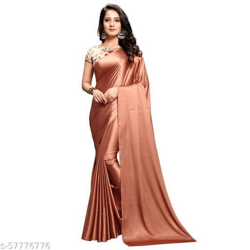 Soft banarasi satin silk saree with digital printed blouse