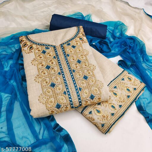 Fancy Khadi Cotton Embroidery work Salwar Suit Material with Dupatta