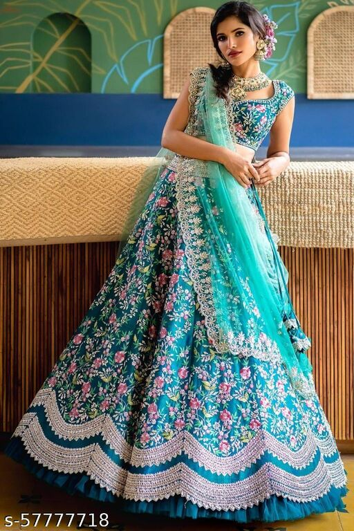 Aque blue designer partywear embroidered work malay satin LEHENGA