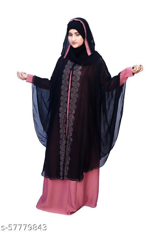 Dua Abaya Women's Stylish Double Layer Butterfly Farasha Abaya Burqua with Hijab