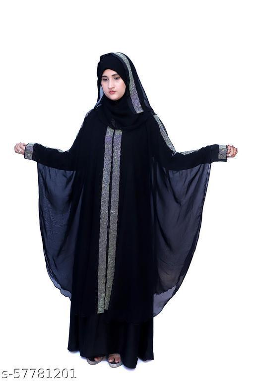 Dua Abaya Women's Stylish Double Layer Butterfly Style Farasha Abaya Burqua with Hijab