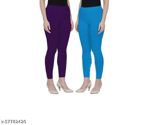 Vishnu India Pack of 2 Stylish Cotton Ankle length leggings ( Colour : purple,skyblue)