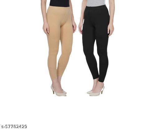Vishnu India Pack of 2 Stylish Cotton Ankle length leggings ( Colour : beige,black)