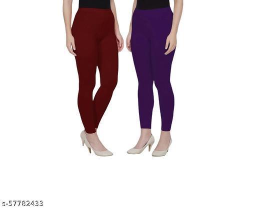 Vishnu India Pack of 2 Stylish Cotton Ankle length leggings ( Colour : maroon,purple)