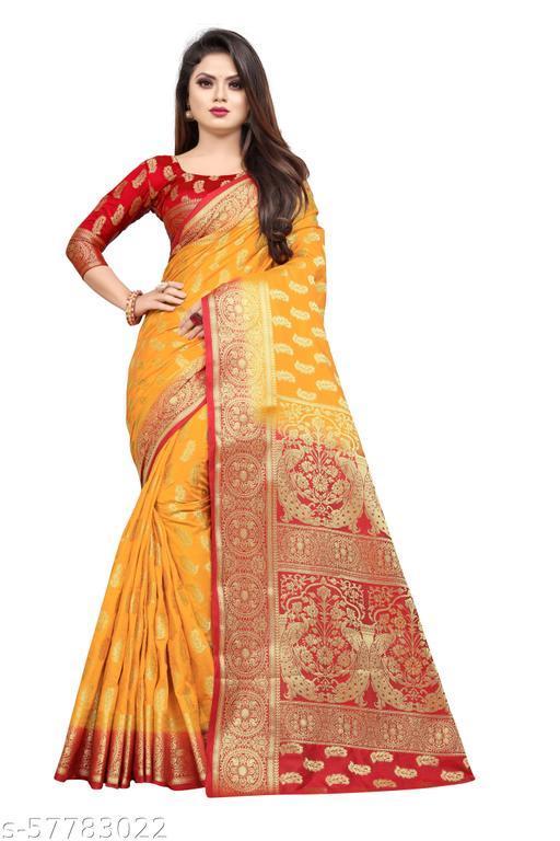 MalikInshu Women's Yellow Jacquard Cotton Silk Banarasi Saree With Blouse Piece (P36B-Yellow)