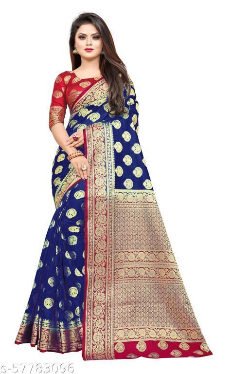 MalikInshu Women's Dark Blue Jacquard Cotton Silk Banarasi Saree With Blouse Piece (P38-Dark Blue)
