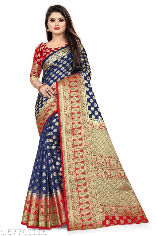 MalikInshu Women's Dark Blue Jacquard Cotton Silk Banarasi Saree With Blouse Piece (P43-Dark Blue)
