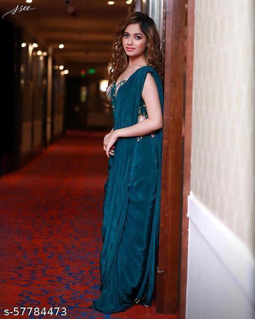 Zeepkart Air Blue Coloured Rangoli Embrodery Silk Saree