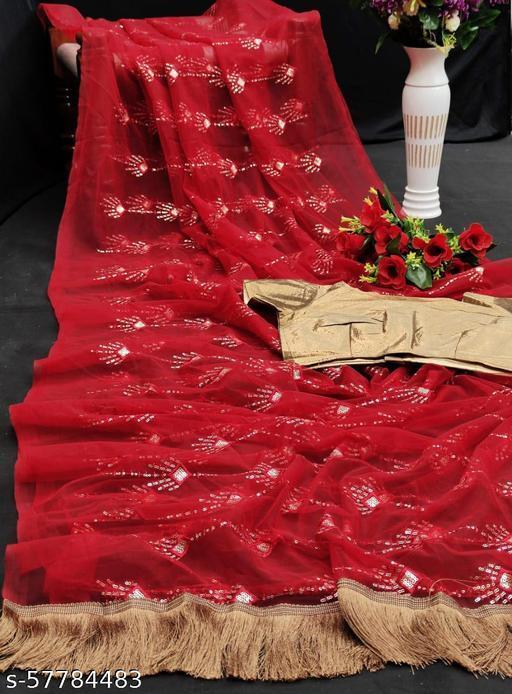 Zeepkart Red Coloured Nylon Mono Net Embrodery Silk Saree
