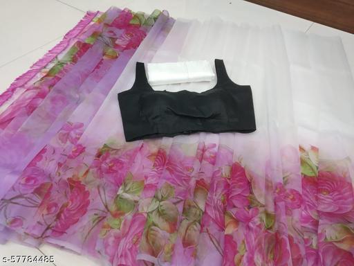 Zeepkart Multy Coloured Digitel Print Organza Silk Saree