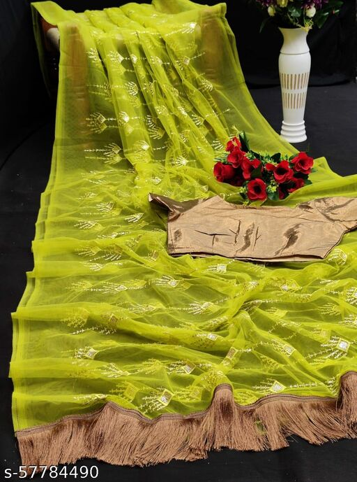 Zeepkart Lemon Coloured Nylon Mono Net Embrodery Silk Saree
