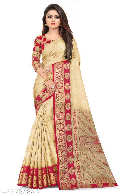 MalikInshu Women's Gold Jacquard Cotton Silk Banarasi Saree With Blouse Piece (964 CHOKDA-Gold)