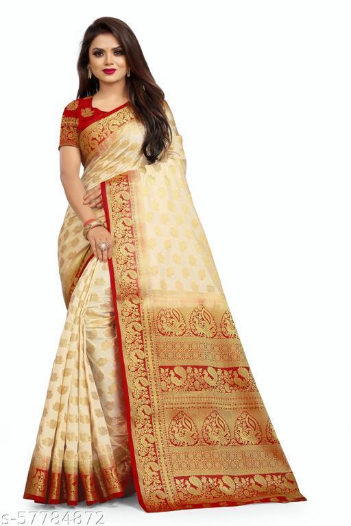 MalikInshu Women's Gold Jacquard Cotton Silk Banarasi Saree With Blouse Piece (P55-Gold)