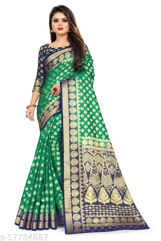 MalikInshu Women's Green Jacquard Cotton Silk Banarasi Saree With Blouse Piece (965-Green)