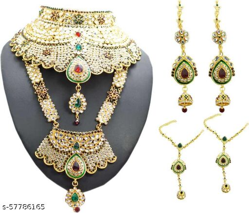 Metal Gold-plated Jewel Set  (Multicolor)