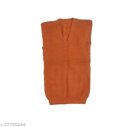 PAUL AND DOLL Hand Knitted Cardigan Sweater for Men Orange