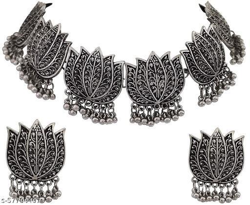 Paninaro Oxidised Silver Jewellery Stylish Chain Pendant Necklace for Women & Girls Jewellery Set