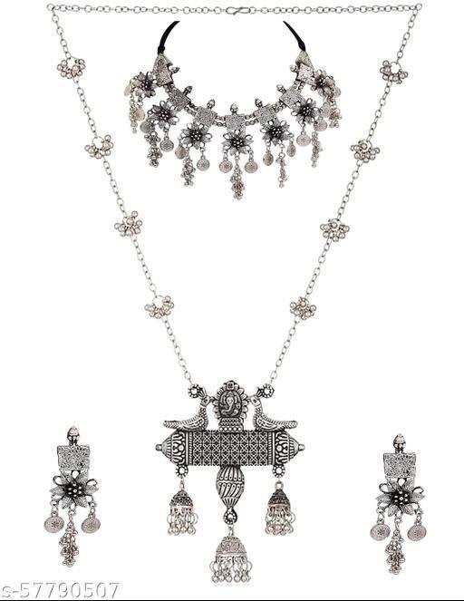 Paninaro Oxidised Silver Jewellery Stylish Chain Pendant Necklace for Women & Girls