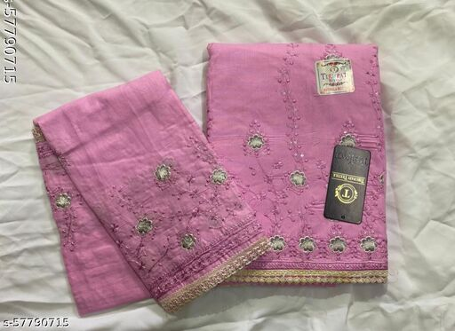 Cotton Dress Material of thread work with Duppatta