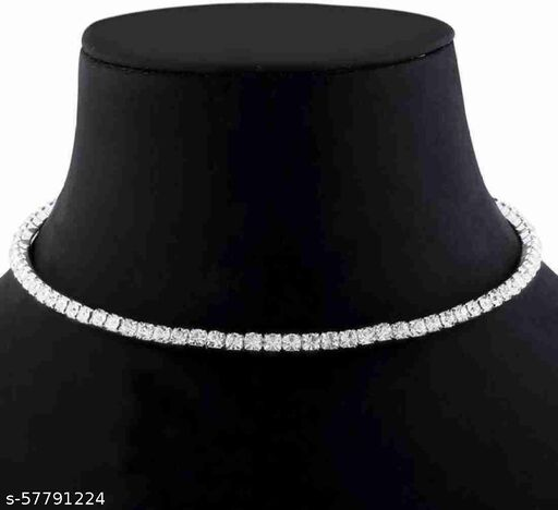 Silver Plated Diamond Studded Party wear Necklace For Women & Girls ( Alloy Necklace)