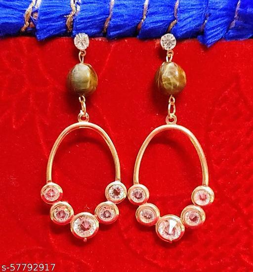 Pink blush Multicolour Long Drop earrings For Women