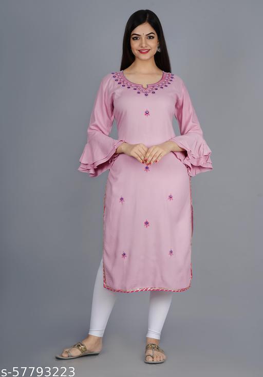 Pink Embroidery straight kurta